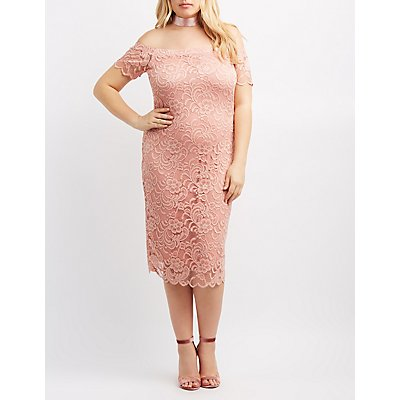 Plus Size Off-The-Shoulder Lace Dress