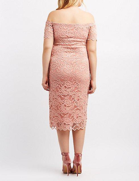 Plus Size Off The Shoulder Lace Dress Charlotte Russe