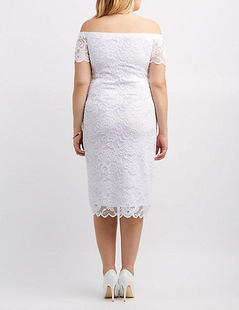 Plus Size Off-The-Shoulder Lace Dress | Charlotte Russe