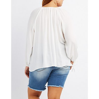 Plus Size Embroidered Keyhole Blouse