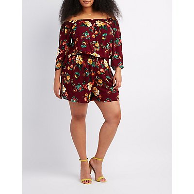 Plus Size Floral Off-The-Shoulder Romper