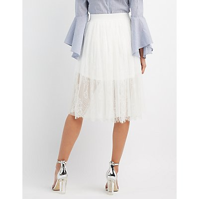 Tulle & Lace Midi Skirt