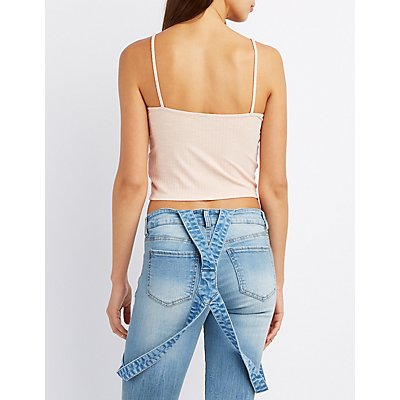 Ribbed Lace-Up Tank Top