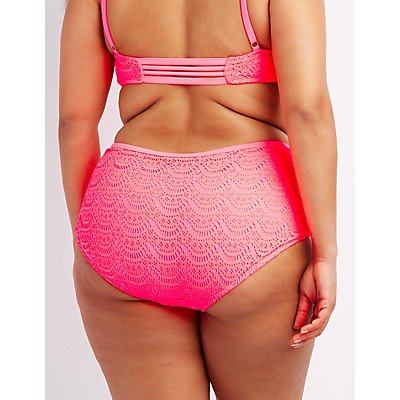 Plus Size Caged Crochet High-Waisted Bikini Bottoms