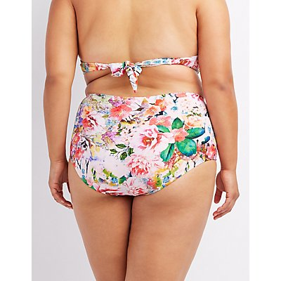 Plus Size Floral High-Waisted Bikini Bottoms