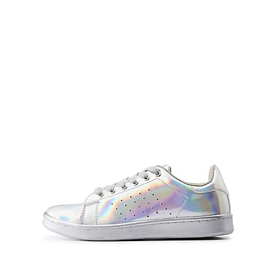 Qupid Hologram Lace-Up Sneakers