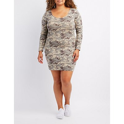 Plus Size Camo Caged-Back Bodycon Dress