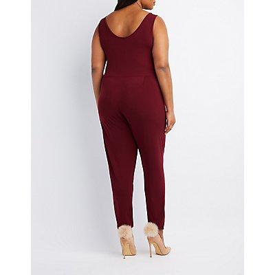 Plus Size Plunging Notched Jumpsuit