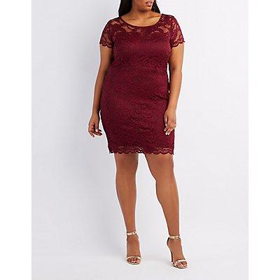 Plus Size Floral Lace Scalloped Dress