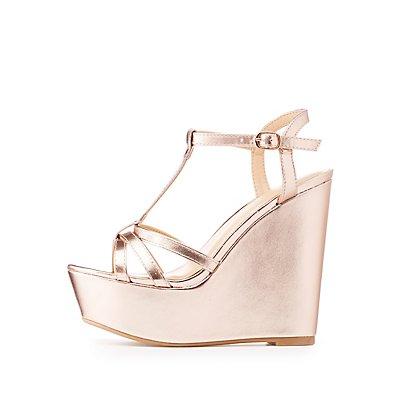 Metallic T-Strap Wedge Sandals