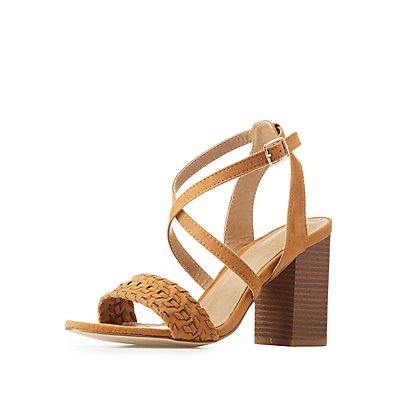 Whipstitched Faux Suede Strappy Sandals