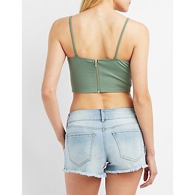 Strappy Lace-Trim Crop Top