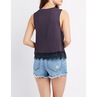 Flower Child Graphic Lace-Trim Top