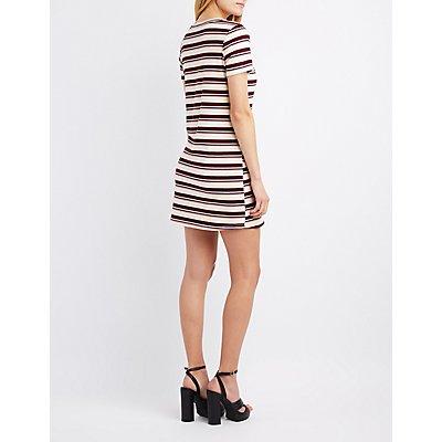 Striped V-Neck T-Shirt Dress