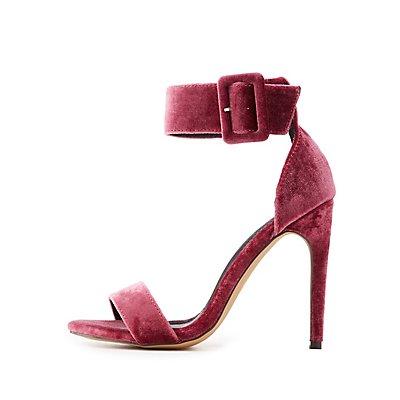 Velvet Ankle Strap Sandals