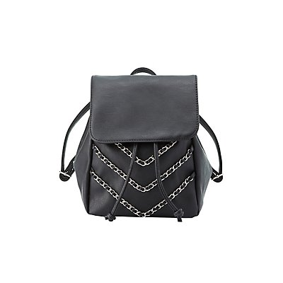 Chainlink Faux Leather Backpack