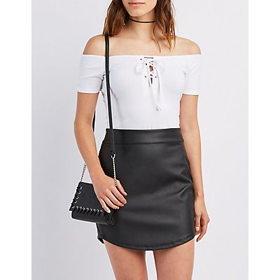 Lace-Up Off-The-Shoulder Crop Top