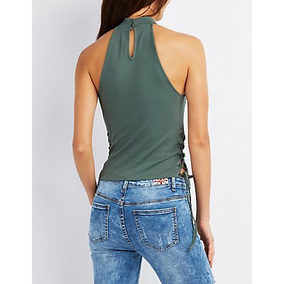 Mock Neck Lace-Up Tank Top