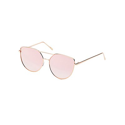 Reflective Cat Eye Aviator Sunglasses