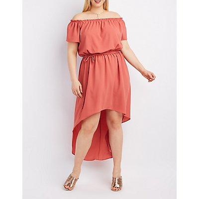 Plus Size Off-The-Shoulder Tie-Waist Dress