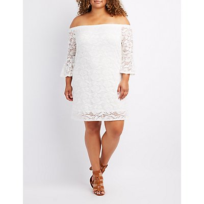 Plus Size Lace Off-The-Shoulder Shift Dress