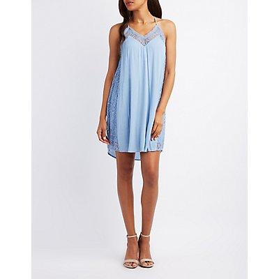 Lace-Trim Racerback Slip Dress
