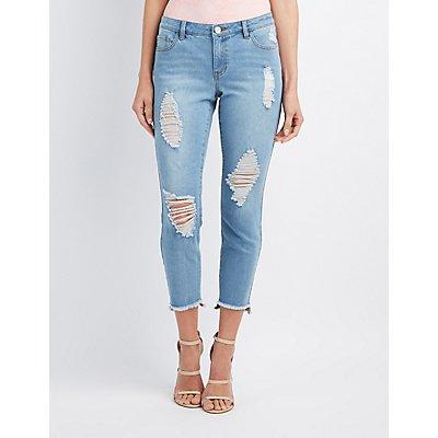 Refuge Step Hem Skinny Destroyed Jeans
