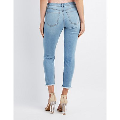 Refuge Step Hem Skinny Destroyed Jeans