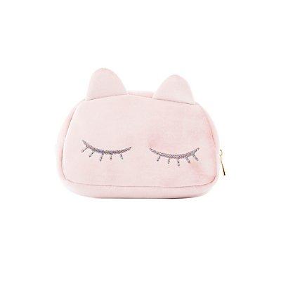 Crushed Velvet Kitty Makeup Bag