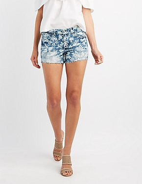 Floral Denim Cut-Off Shorts