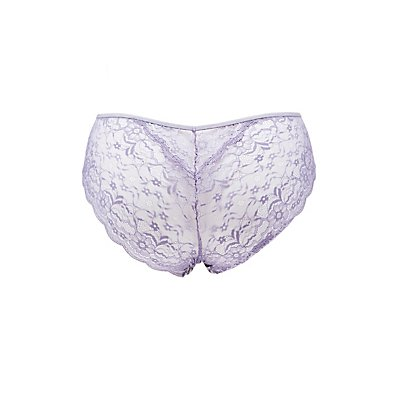 Plus Size Printed Lace-Back Cheeky Panties