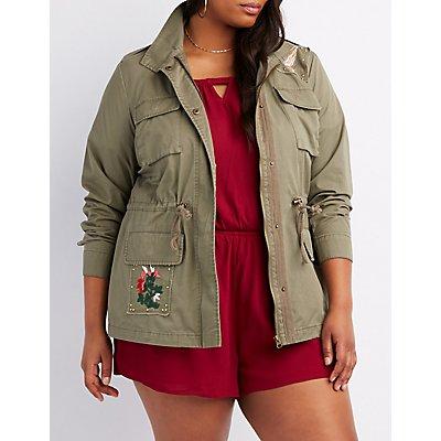 Plus Size Stud & Embroidered Anorak Jacket