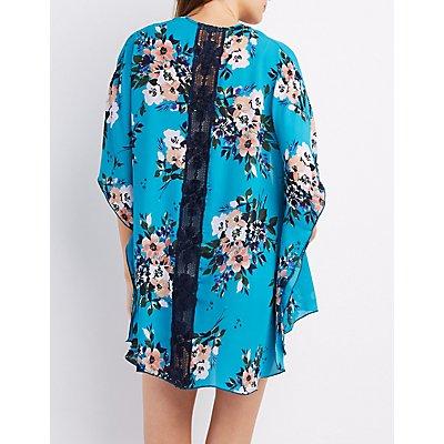 Floral Crochet-Trim Kimono