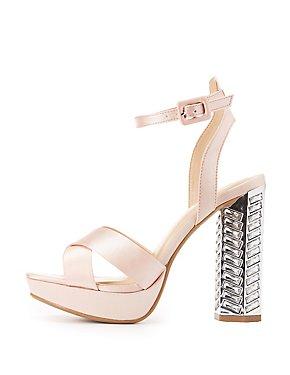 Embellished Heel Platform Sandals