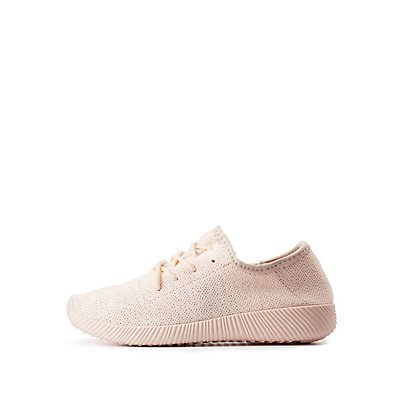 Qupid Perforated Knit Sneakers
