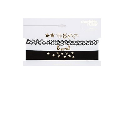 Taurus Choker Necklaces & Earrings Set