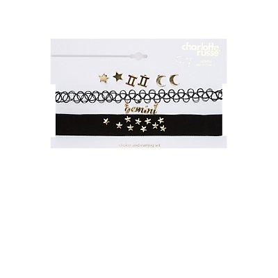Gemini Choker Necklaces & Earrings Set