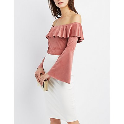 Faux Suede Ruffle Off-The-Shoulder Crop Top