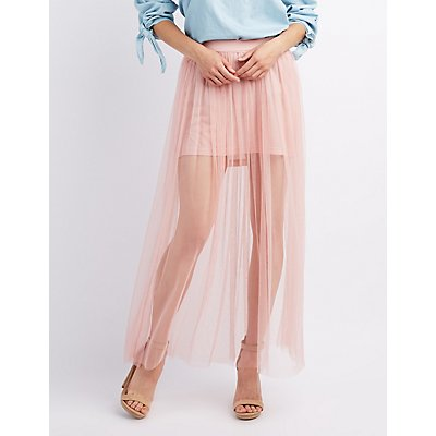 Tulle Overlay Maxi Skirt