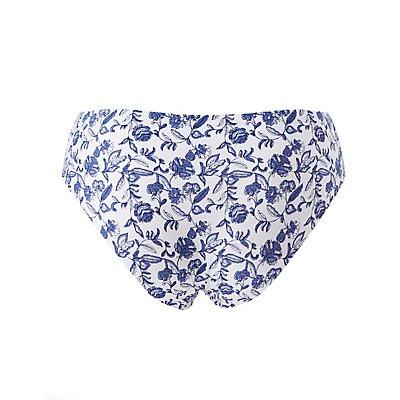 Plus Size Floral Laser Cut Cheeky Panties