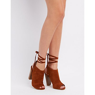 Bamboo Peep Toe Lace-Up Booties