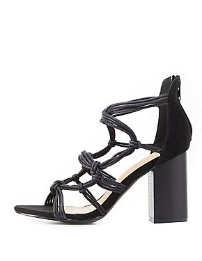 Knotted Block Heel Sandals