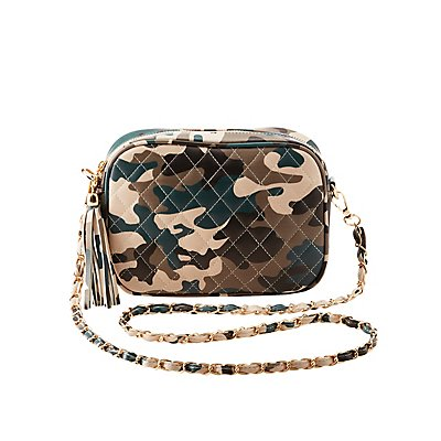 Camo Quilted Crossbody Bag