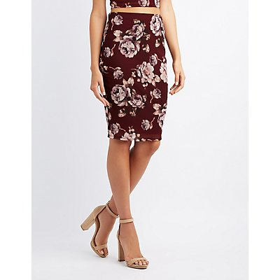 Floral Mesh Pencil Skirt