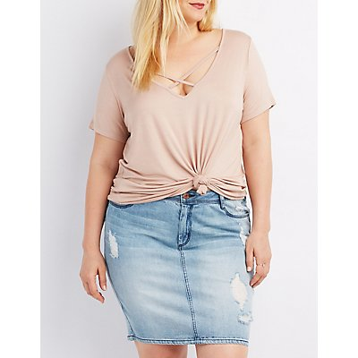 Plus Size Strappy Caged Boyfriend Tee