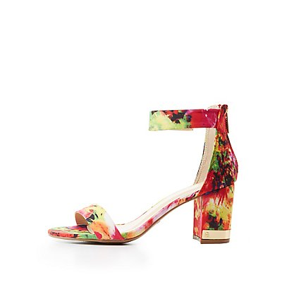 Bamboo Gold-Trim Floral Two-Piece Sandals