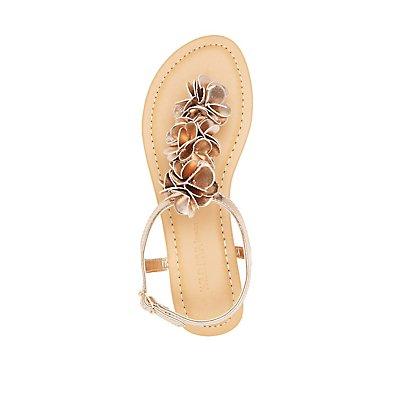 Floral T-Strap Thong Sandals