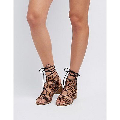 Leopard Lace-Up Gladiator Sandals