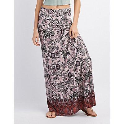 Foldover Waist Printed Maxi Skirt