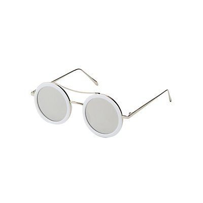 Metal Brow Bar Round Sunglasses